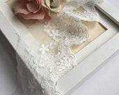 Floral embroidery scalllop edges Lace trim.  Soft floral lace trim.  Clothes bottoming.  Dress bottoming.  Scarf making.  Wedding lace.