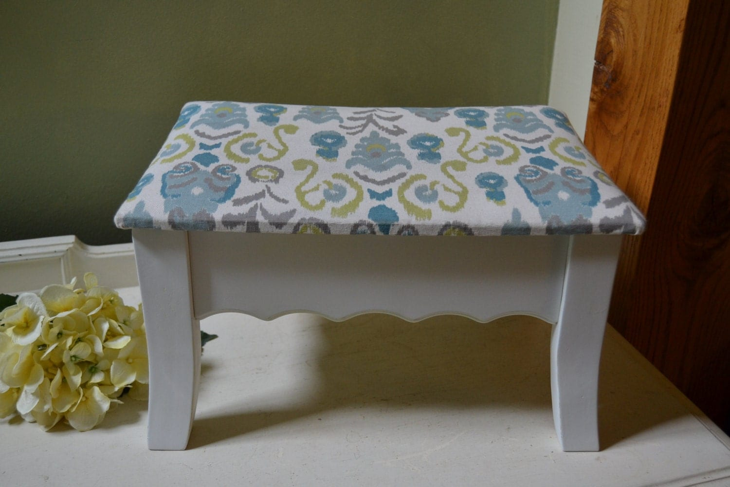 cloth covered rectangular white storage ottoman by vintageabcs