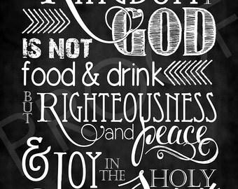 Scripture Art - Romans 14:17 Chalkboard Style