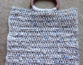 Plarn Market Tote with wood handles