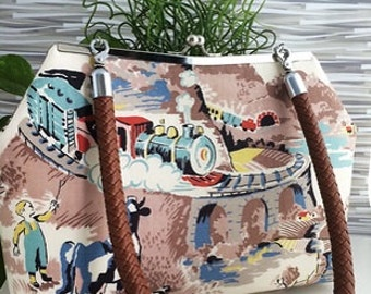 Purse Everglaze Farm and Train Scene Fabric with Cow Dog Donkey