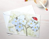 Forget me not ladybug blank greeting card and envelope eco friendly recycled paper summertime garden watercolor reprint