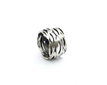 Unique and modern Sterling Silver Wide Band, One of kind silver ring, Marquis shape pattern band, Handmade by Gwen Park Jewelry Designs