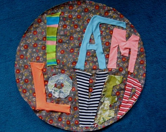 I Am Loved :  large crazy-quiltesque cloth wall-hanging
