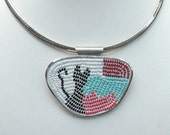 Micro-Mosaic Seed Bead Black Cat Pendent Necklace in Sterling Silver