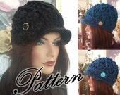 Chunky Diamond Newsboy Crochet Hat PDF Pattern