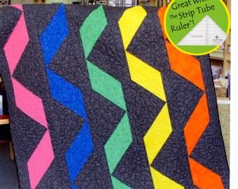 PATTERN:  Strip Tube Ribbons - Cozy Quilt Design - Strip Tube Ruler - Quilt