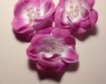 Liquidation- Fabric Flower Pin, Set of 10 Flowers, Flower Pin, Pin, Beaded Flower 34-208