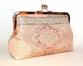 Vintage Silk Kimono Obi Clutch, Peach, Apricot Paulownias and Geometrics, Bridal Clutch, Bridesmaid Gift, Evening Bag in Rose Gold Frame