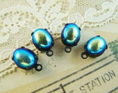 Vintage Oval 10x8mm AB Black Iris Set Stone Drops or Connector Findings Raw Brass, Black or Antique Silver Settings - 2