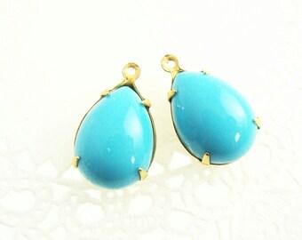 Vintage Opaque Turquoise Blue 15x11mm Teardrop Acrylic Plastic Set Stones Brass Drop Charm Settings - 2