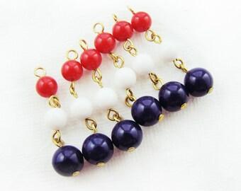 Vintage Red White Blue Beaded Chain Drops Plastic Bead Dangles Tassels - 12