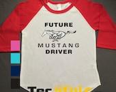 Future Mustang Driver Raglan Printed Tshirt, 3/4 sleeve, baseball shirt, Toddler Raglan