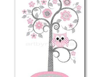 Pink Gray Tree Owl Nursery Decor Playroom Decor Childrens Art Print Baby Room Decor Kids Art Baby Girl Nursery Prints Kids Wall Decor