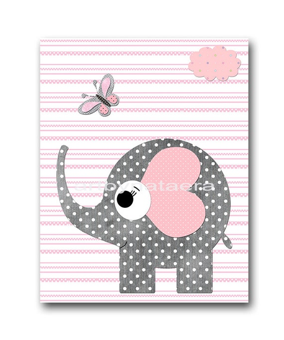 Pink Gray Elephant Nursery Decor Childrens Art Print Playroom