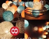 20 Big Cotton Balls Dream Blue-Orange Tone Fairy String Lights Party Patio Wedding Floor Table or Hanging Gift Home Decor Christmas Bedroom