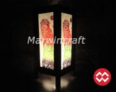 Asian Oriental Japanese Owl Animal Pet Dream Art Bedside Table Lamp or Bedside Wood Paper Light Shades Furniture Home Decor Gift