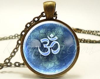 Om Necklace, Yogi Gifts, Yoga Jewelry, Green Namaste Ohm Pendant (1867B1IN)