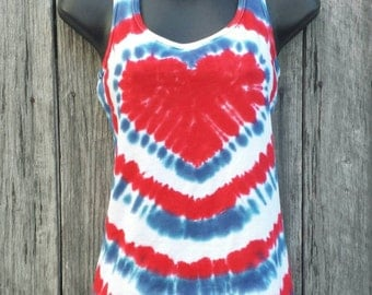 Womens Patriotic Tie Dye Tank Top, S M L XL XXL, Red White and Blue Heart Top, 4th of July Shirt, Tie Dye