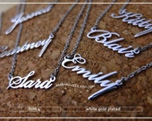 20% off // Font 4 // Personalized name necklace - Sterling silver- yellow-pink -white gold plated -Bridesmaid Gift - mother- Valentine gift.