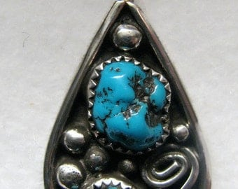 Vintage SOUTHWESTERN Turquoise Nugget and Sterling Silver Pendant -- Artisan Signed PR
