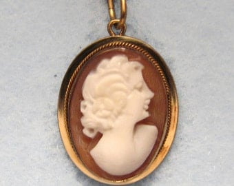 Vintage 14k Yellow Gold CAMEO Pendant -- Hand-Carved Shell