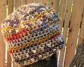 Simple earth tone crochet beanie hat multi textures