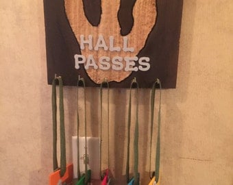 Hanging Board with set of five hall passes