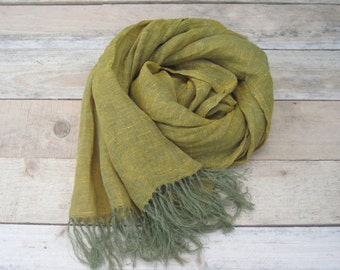 Green linen scarf, scarf with knot fringe, linen scarves, scarf linen, linen shawl, pure linen scarf, women scarf, men scarf, soft scarf