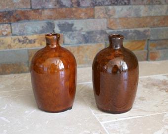 Talc jugs - vintage pair of House of Hawick pottery talc jugs - talc bottle - Hawick jug - Hawick York - little brown jug