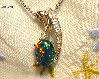 Opal & Diamond 14ct White Gold Pendant.8 x 6 mm Oval Triplet Opal. item 80879.