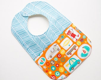 Designer Boy Baby to Toddler Bib - Aqua Herringbone Race Cars Robots - OOAK - Ready to Ship - Cute Baby Gear - Modern Reversible Bib