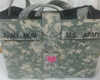 bright pink acu purse. handmade.  authentic acu uniform jacket. embroidered name tapes and rank or heart, etc.