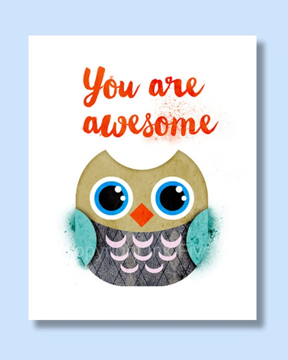 Owl nursery art printable bird illustration. You are awesome. Inspirational quote digital download kids room decor. Cute cartoon.