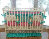 Girl Baby Bedding Grey Damask, Teal & Hot Pink 1pc-4pc Girl Crib  Bedding Set. Ruffled Crib Skirt.