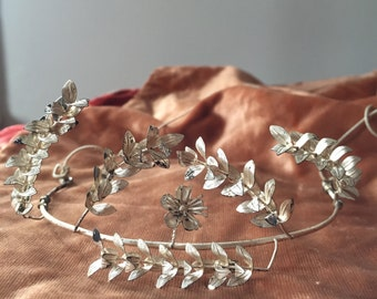 Vintage German Silver Myrtle Wedding Tiara Floral Crown