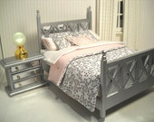 Art Deco silver bed for 1:12 scale bedroom