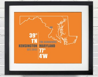Maryland Coordinate Wedding or Anniversary Gift, State or Country Map Print, Bride and Groom Names, Place and Date, Bridal Shower Gift