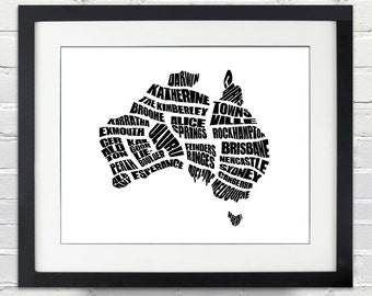 Australia Word Map - A typographic word map CIties of Australia, Home Decor, Australian Map, Black and White, Canvas or Print, Moving Gift