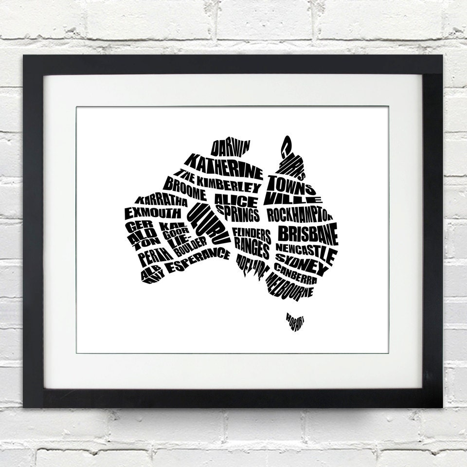 Australia word map a typographic word map cities of for Home decorations australia