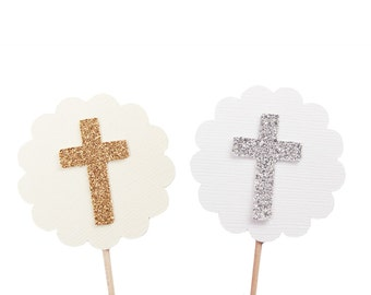 Cross Cupcake Toppers - Gold and Ivory Baptism Cupcake Toppers - Silver and White Baptism - Christening Cupcake Toppers - Communion Party