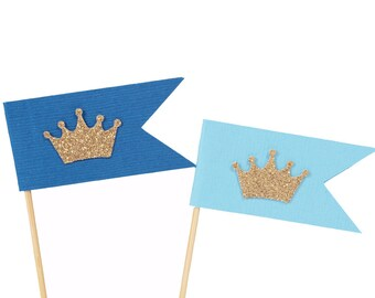 Gold Crown Cupcake Toppers - Blue and Gold Cupcake Toppers - Crown Flag Cupcake Toppers - Prince Cupcake Toppers - King Cupcake Toppers -