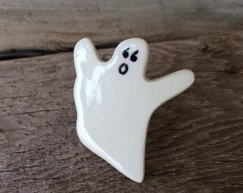 HALLOWEEN Brooch, Ghost Brooch, GHOST Pin, Handmade pottery, ceramic ghost brooch, Halloween jewelry, Teacher jewelry, caregiver gift
