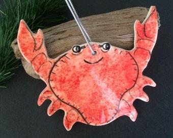 Red Crab ornament, Large Crab Ornamnet, ornament, Maryland Ornament, nautical Christmas ornament, Sebastian the Crab Little Mermaid ornament