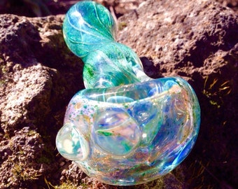 Crystal Aqua Spiral Twist Functional Art Tobacco Glass Pipe