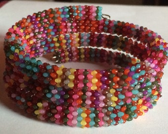 "Colorful ""Plastastic"" Beaded Memory Wire Bracelet"
