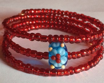 "Colorful ""Exotic Flower"" Beaded Memory Wire Bracelet"