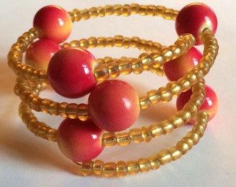 "Colorful ""Blushing Apple"" Beaded Memory Wire Bracelet"
