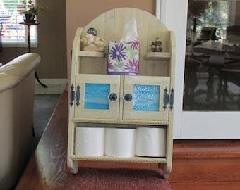 Shabby chic beach bathroom wall cabinet, shelves