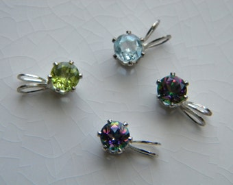 Four tiny gemstone pendants - vintage jewelry